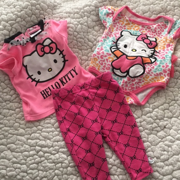 7955422b5 Hello Kitty One Pieces | 3 Baby Ruffle Onesie Top Pants Lot | Poshmark